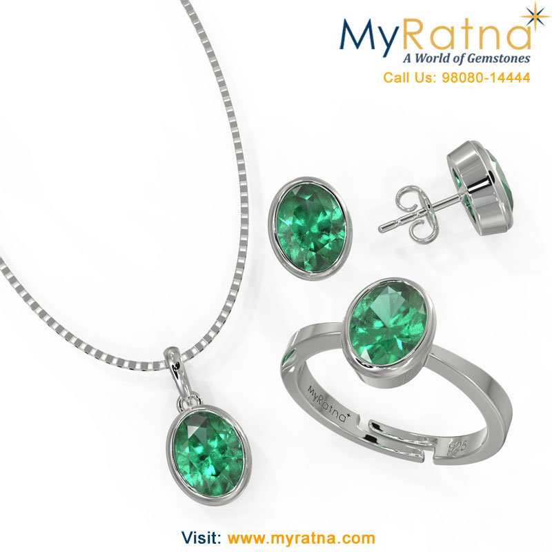 May Birthstone Jewellery Set - Emerald Bezel Setting - MyRatna