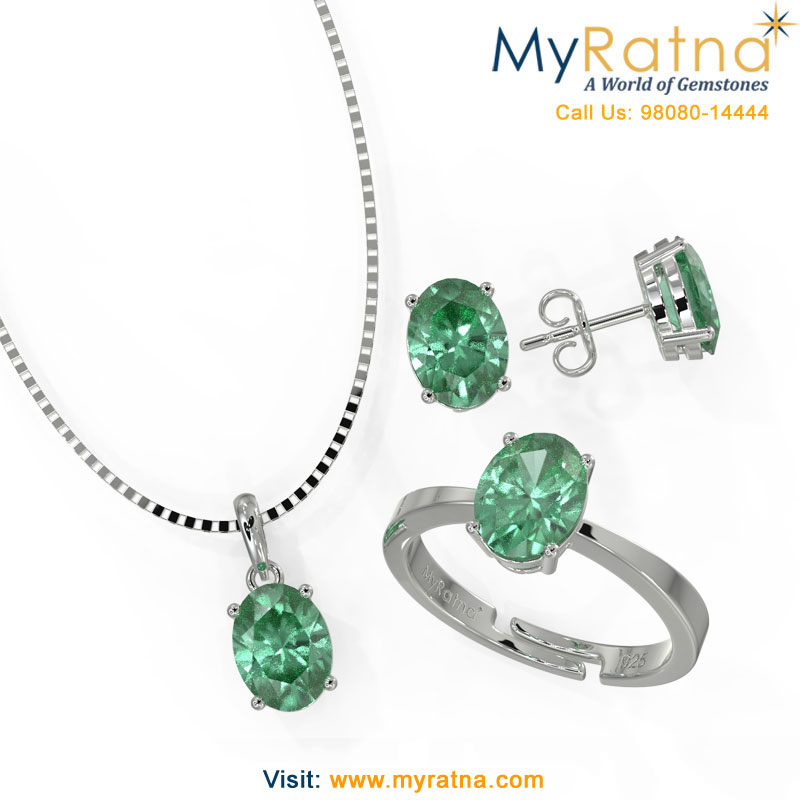 May Birthstone Jewellery Set - Emerald in Prong Setting - MyRatna