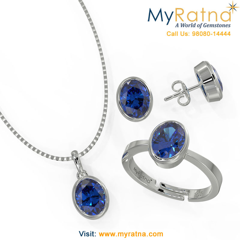 September Birthstone Jewellery Set - Iolite Bezel Setting - MyRatna
