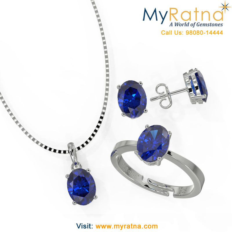 September Birthstone Jewellery Set - Iolite Gemstone set in silver Jewellery - MyRatna
