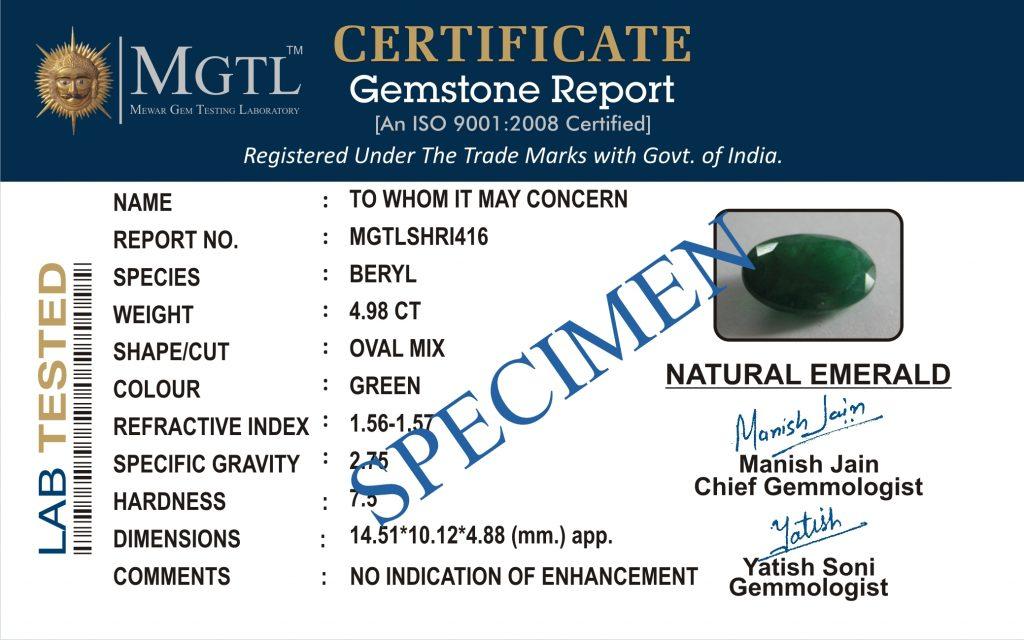 Gemstone MGTL Certificate