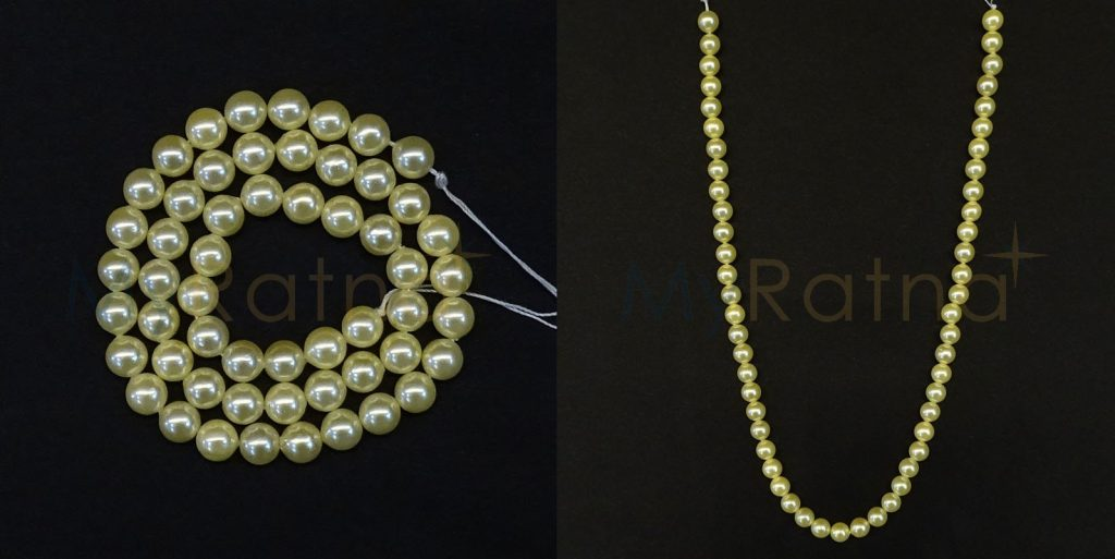 Golden Colour Pearls String