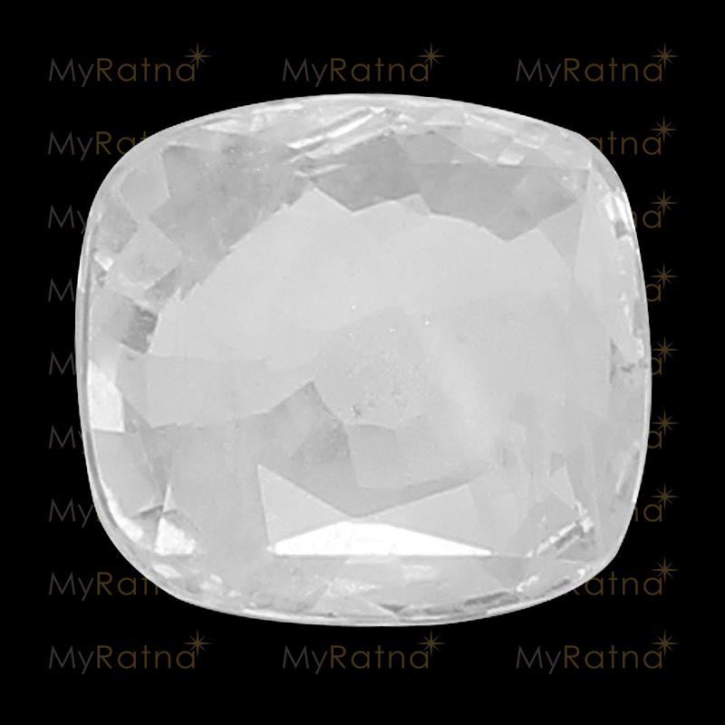 Natural White Sapphire (Pukhraj) Gemstone 5.6 Ct (Ceylon) - Fine - MyRatna